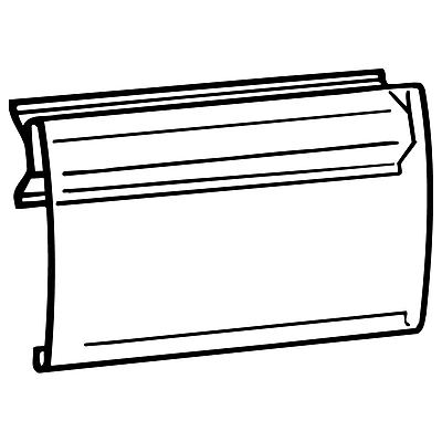 FFR Merchandising BS2020 Clear Covered-Face Sign Holder for Below Shelf Mount, 3 1/2