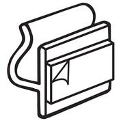 "FFR Merchandising Styrene SWA Slatwall Adapter, White, 1""L, With Adhesive, 100/Pack (2501687002)"