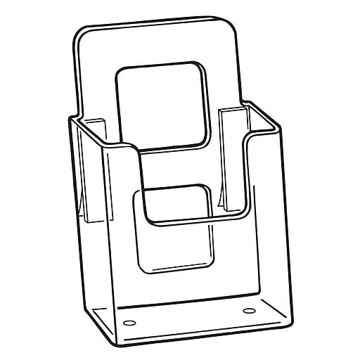 """FFR Merchandising Styrene V-4 Vision Literature Holder with Adhesive, Wall-Mount for 4"""" Literature, 10/Pack (9301825903)"""
