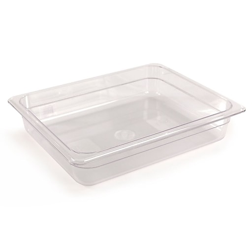 """FFR Merchandising Cold Food Pans and Covers, 2 1/2"""" D, Clear, Half Pan, 3.0 qt, 4/Pack (9922510605)"""