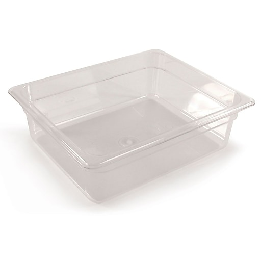 """FFR Merchandising Cold Food Pans and Covers, 4"""" D, Clear, Half Pan, 5.3 qt, 2/Pack (9922510607)"""