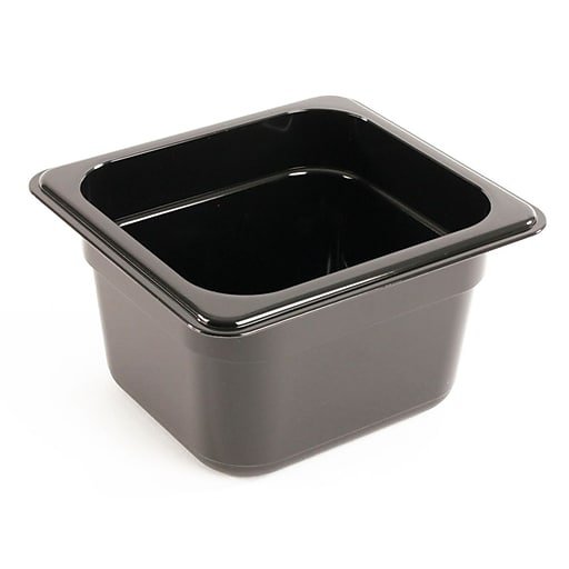 "FFR Merchandising Cold Food Pans and Covers, 4"" D, Black, Sixth Pan, 1.7 qt, 6/Pack (9922510618)"