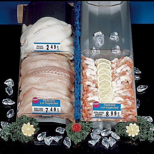 """FFR Merchandising Stainless Steel Reversible Seafood Trays, 6""""W x 30""""L, w/o End Stops, 5 Slots, 2/Pack (9922815323)"""