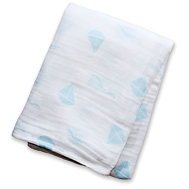 Lulujo Muslin Swaddling Blanket, Blue Sailboats