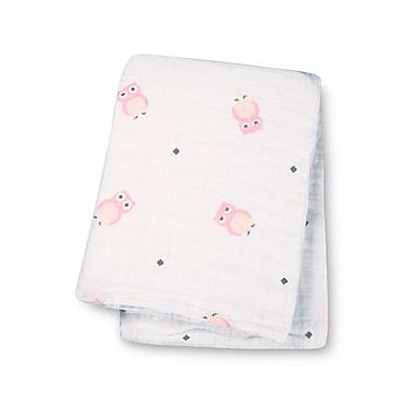 Lulujo Muslin Swaddling Blanket, Pink Owls