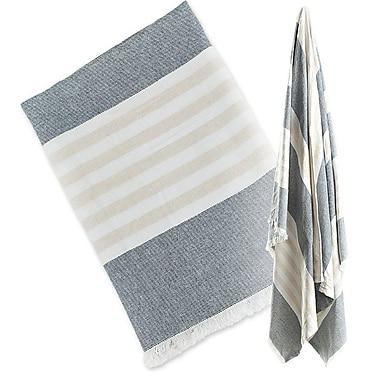 Lulujo Turkish Towel, Classic Navy & Oatmeal