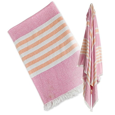 Lulujo Turkish Towel, Passion Pink & Apricot