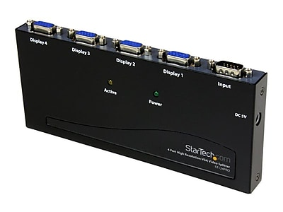 StarTech ST124PRO High Resolution VGA Video Splitter, 350 MHz, 4 Ports
