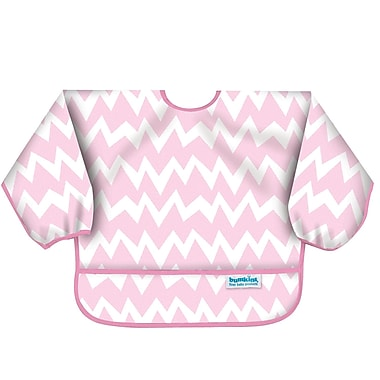 Bumkins Sleeved Bib, Pink Chevron