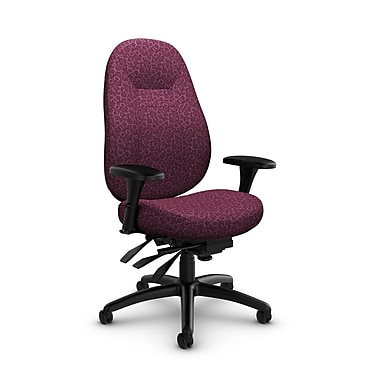 Global – Fauteuil ObusForme Comfort, dossier mi-dos à basculements multiples, tissu « Oxygen-Wine », rouge