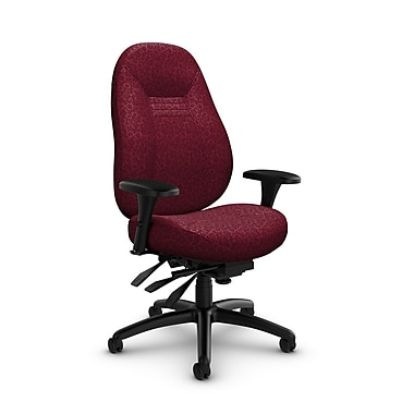 Global Obusforme Comfort 24 Hour Mid Back Multi Tilter, 'Oxygen-Cabernet' Fabric, Red