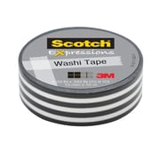 Scotch® Expressions Washi Tape, 15 mm x 10 m, Black Stripe