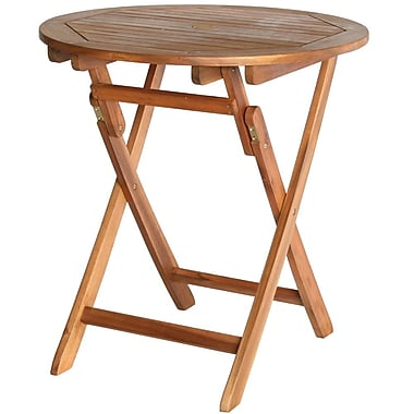 Cathay Importers Acacia Wood Folding Round Table, 27.5