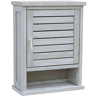 Cathay Importers White Wash Acacia Wood Wall Cabinet 19