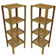 "Cathay Importers Bamboo 4 Shelf Storage Etagere, 14.5""W x 13""D x 42""H, 2-Piece Set"