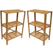 "Cathay Importers Bamboo 3 Shelf Storage Stand, 24""W x 13""D x 35.5""H, 2-Piece Set"