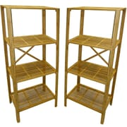 "Cathay Importers Bamboo 4 Shelf Storage Tower, 23.5""W x 13"" D x 51""H, 2-Piece Set"