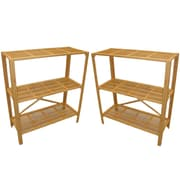 "Cathay Importers Bamboo 3 Shelf Storage Stand, 31.5""W x 13""D x 35.5""H, 2-Piece Set"