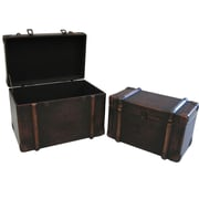 Cathay Importers Brown Faux Leather Storage Trunk, 2-Piece Set