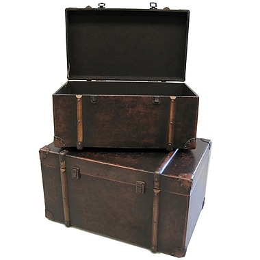 Cathay Importers Brown Faux Leather Storage Trunk, 24
