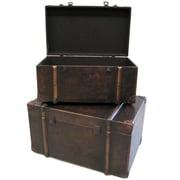 Cathay Importers – Coffre de rangement en similicuir brun, 24 larg. x 16 prof. x 13,5 haut. (po), ensemble de 2 pièces