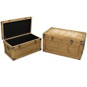 Cathay Importers – Coffre de rangement en bois vieilli, 2 pièces