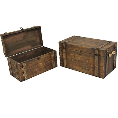 Cathay Importers Brown Stained Wood Storage Trunk, 1 Large, 1 Small, 2-Piece Set (07-0346-EC)