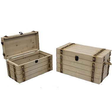 Cathay Importers White Wash Wood Storage Trunk, 2-Piece Set
