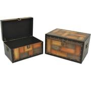 Cathay Importers – Coffre de rangement en placage de bois, ensemble 2 pièces
