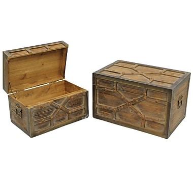 Cathay Importers – Coffre de rangement en bois, finition lavis brun, ensemble 2 pièces