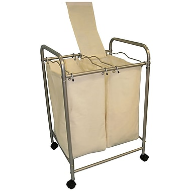 Cathay Importers Double Laundry Sorter with 2 Removable Fabric Bags and 4 Wheels, 20
