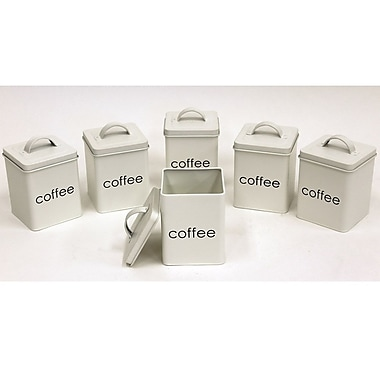 Cathay Importers White Square Coffee Canisters, 4.5
