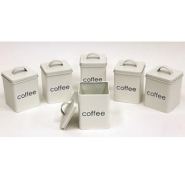 Cathay Importers – Contenants à café métalliques carrés, 4,5 larg. x 4,5 prof. x 6,5 haut. (po), blanc, 6/paquet