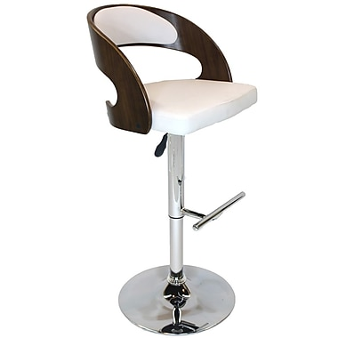 Cathay Importers Walnut Bentwood Faux Leather Swivel Counter/Bar Stool with Chrome Base, White, 19