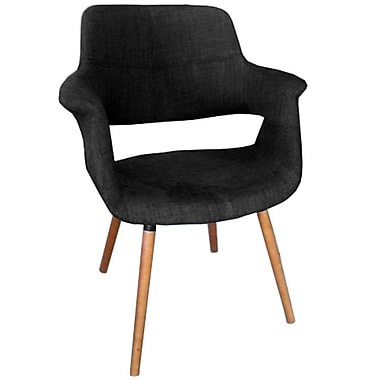 Cathay Importers Charcoal Black Fabric Arm Chair with Wood Legs, 26