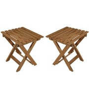"Cathay Importers Acacia Wood Big Foldable Stool, 20""W x 14""D x 16.5""H, 2/Pack"
