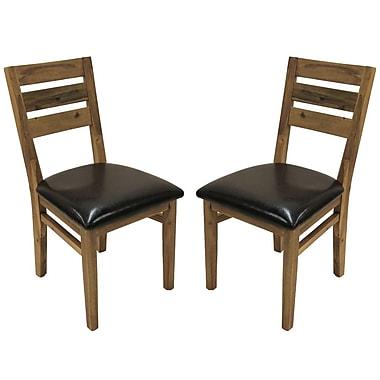 Cathay Importers – Chaise de salle à manger d'appoint en acacia, similicuir espresso, 18 larg. x 23 prof. x 36 haut. (po), 2/pqt