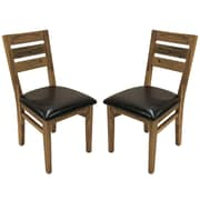 "Cathay Importers Acacia Wood Espresso Faux Leather Dining Side Chair, 18""W x 23""D x 36""H, 2/Pack"