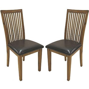 Cathay Importers – Chaise salle à manger, haut dossier en acacia, similicuir espresso, 18 larg. x 23 prof. x 39 haut. (po), p/2