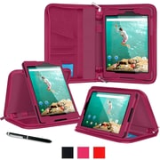 "rOOCASE Leather Executive Portfolio Case Cover with Stylus for 8.9"" Google Nexus 9, Magenta"