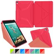 "rOOCASE Origami Polyurethane 3D Slim Shell Folio Smart Case Cover for 8.9"" Google Nexus 9, Persian Rose/Ruddy Pink"