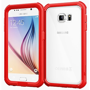 rOOCASE Glacier Tough Clear Back Full Body Armor Case Cover for Samsung Galaxy S6, Carmine Red (RC-SAM-S6-GT-RD)