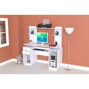 Inval America Laura Standard Computer Workcenter with Hutch, Laricina-White
