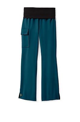 Medline Ocean ave Women Large Petite Yoga Scrub Pants, Caribbean Blue (5560CRBLP)