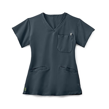 Medline Berkeley AVE. Women 2XS Scrub Top, Charcoal (5582CHRXXS)