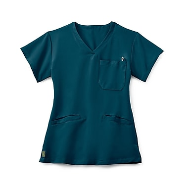 Medline Berkeley AVE. Women XS Scrub Top, Caribbean Blue (5582CRBXS)