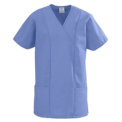 Medline ComfortEase Women Medium Crossover Tunic Scrub Top, Ceil Blue (8851JTHM)