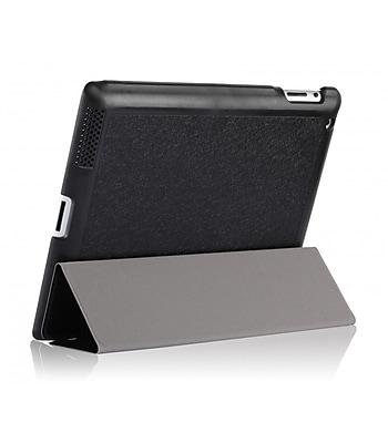 i-Blason IPAD5-3F-BLACK Faux Leather Folio Case for Apple iPad Air, Black