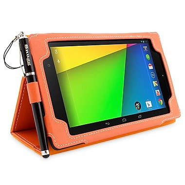 Snugg B00F8GC27U Polyurethane Leather Folio Case and Flip Stand for Google Nexus 7 2013, Orange