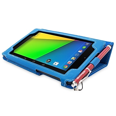 Snugg B00F8G4W82 Polyurethane Leather Folio Case and Flip Stand for Google Nexus 7 2013, Electric Blue